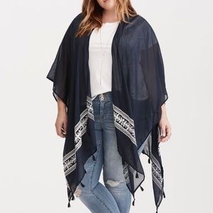 NWT navy blue embroidered wrap with tassels